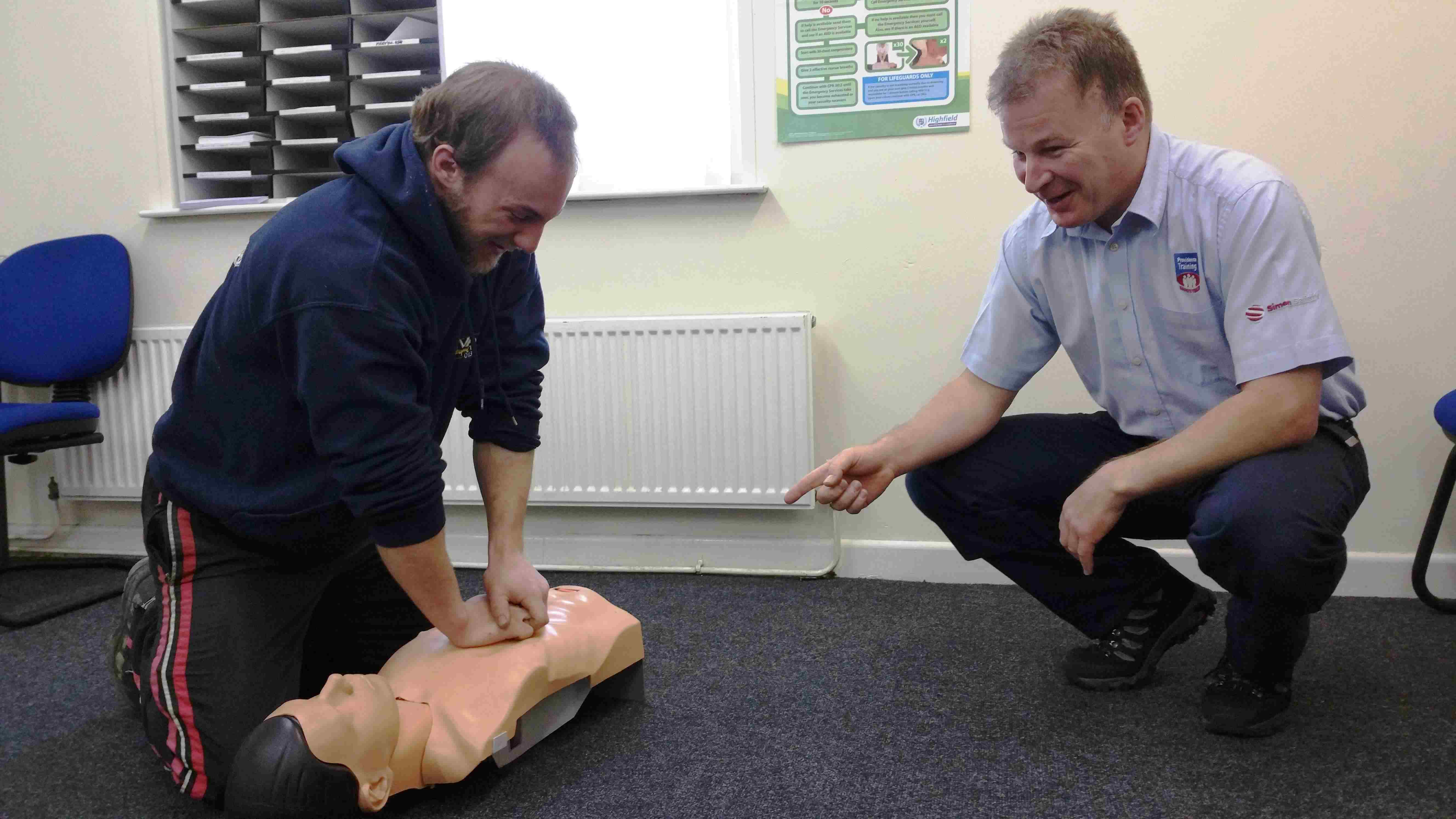 Delegates are taught CPR during one of our monthly First Aid courses